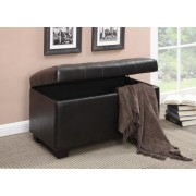 Dark brown leather like vinyl upholstered tufted top storage bedroom ottoman bench