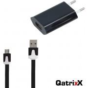 Mini USB Reislader Zwart + platte Micro USB Datakabel 3 meter voor Huawei P9 Lite