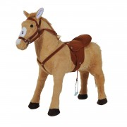 HOMCOM Childrens Plush Rocking Pony W/Sound-Beige