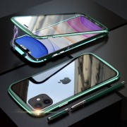 LUPHIE Magnetic Metal Frame Tempered Glass Phone Cover for Apple iPhone 11 6.1 inch - Green