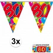Shoppartners 3 Gekleurde slingers 80 jaar met sticker