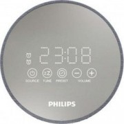 Radio cu ceas Philips TADR402/12 FM 1W RMS tuner digital functie snooze alimentare 220V port USB incarcare telefon Gri