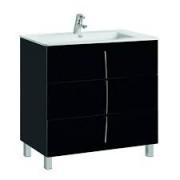 Set mobilier Gala Cuarzo,negru lucios,trei sertare, cu lavoar Gala Emma -7902402