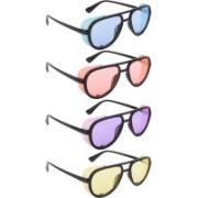 NuVew Aviator, Shield Sunglasses(Blue, Orange, Violet, Yellow)