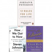 Jordan B. Peterson & Steven Johnson & T. Harv Eker 12 Rules for Life An Antidote to Chaos, How We Got to Now, Secrets of the Millionaire Mind Think Rich to Get Rich 3 Books Collection Set