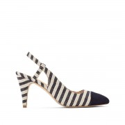 Anne Weyburn Sapatos abertos às riscasnatural/preto- 41