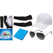 Combo of Cooling Towel (Like Ac On Your head) Arm Sleeves With White Cap And Glasses