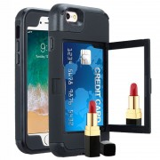 Hidden Mirror %26 Card Slot iPhone 6/6S Hybrid Case - Black