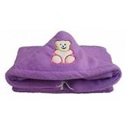 Furn@Home Teddy Design Hooded Fur Purple Baby Blanket With Zip