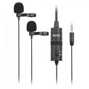 Microfon Lavaliera Dual pentru Smartphone, DSLR, PC