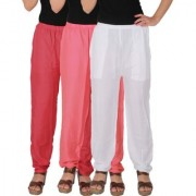 Culture the Dignity Women's Rayon Solid Casual Pants Office Trousers With Side Pockets Combo of 3 - Pink - Baby Pink - White - C_RPT_PP2W - Pack of 3 - Free Size