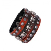 The Jewelbox Funky Punk Red Black 100 Genuine Handcrafted Leather Adjustable Wrist Band Strap Biker Bracelet Boys Men