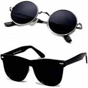 UV Protected Black Round and Black Wayfarer Square Sunglasses for Mens Women