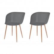 vidaXL Jídelní židle 2 ks šedé plastové sedáky, ocelové nohy