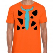 Bellatio Decorations Fred holbewoner kostuum t-shirt oranje voor heren