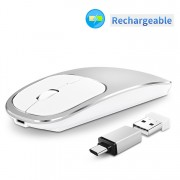 Aluminium Alloy Rechargeable 2.4G Wireless Optical Mouse with Type-C Adapter - Silver