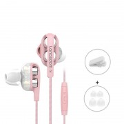 LANGSDOM D4 3.5mm In-Ear Wired Dual Dynamic Driver HiFi Headphone with Microphone for iPhone Samsung LG - Pink