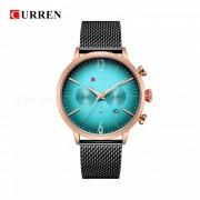 CURREN 8313 reloj de pulsera de banda de metal analogo de cuarzo unisex de moda dial redondo con dos esferas decorativas - oro rosa + verde