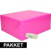 Shoppartners 3x inpakpapier fuchsia/roze met rolletje plakband