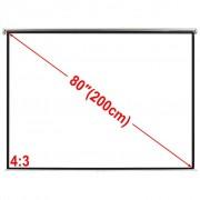 vidaXL Tela de projeção manual 160 x 123 matte branco 4:3 para teto