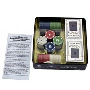 JERN Casino Poker chips with Metal Case (Set with 100 coins with 2 Decks of Playing Cards)