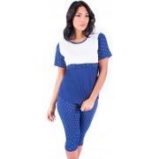 Blanco S8w006 Pigiama Donna Cotone 100% Maglietta Con Mezza Manica E Pantalone A 3/4 Taglia Xl Colore Blu E Bianco - S8w006