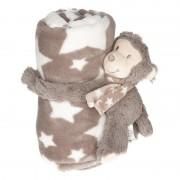 Merkloos Baby/kinder grijs dekentje met apen knuffel