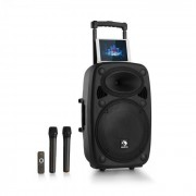 """Auna Streetstar 2.0 12 Mobile PA-Anlage 12"""" Subwoofer Trolley Display BT USB/SD/MP3 Line-Out UKW AUX 2xUHF-Funkmikrofon Fernbedienung 800 Wmax."""