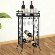 vidaXL fém bortartó állvány 9 palackhoz pohártartóval