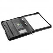 d & n Lederwaren d & n DIN A4 schlanke Businessmappe 5099 Schwarz mit Reißverschluss Schreibmappe