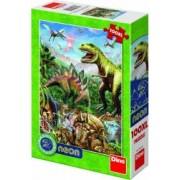 Puzzle XL Dino Toys Lumea dinozaurilor neon 100 piese Multicolor