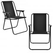 Комплект от 2 броя сгъваеми столове за къмпинг /риболов , 74 x 54 cm, Черен