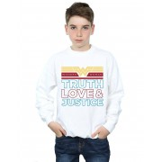 Absolute Cult DC Comics Boys Wonder Woman 84 Truth Love And Justice Sweatshirt Blanc 3-4 Years