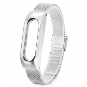 Milanese Stainless Steel Wrist Watch Band + Watch Frame for Xiaomi Mi Band 2 - Silver Color