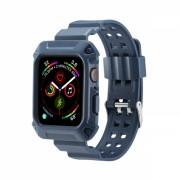 Curea cu husa 2 in 1 sport antisoc din silicon pentru Apple Watch 4 Series 40mm , albastru