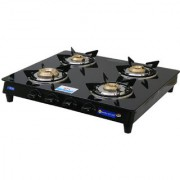 Sinora Hotline Optra Deluxe Glass Top 4 burner Manual Ignition Gas Stove.