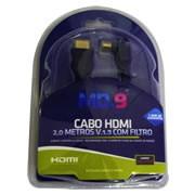 Cabo HDMI M x HDMI M 1.4 2,00 metros Preto com filtro Ponteira 90 graus