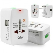 Universal Adaptor Worldwide Travel Adapter with Built In Dual USB Charger Ports All-in-one Chargers 100-240V