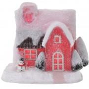 Bellatio Decorations Rood kerstdorp huisje 18 cm type 3 met LED verlichting - Kerstdorpen