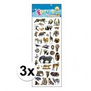 Merkloos 3x Kinder verschillende dieren stickers