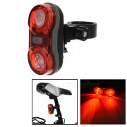Bicicleta de ojo de gato 2-LED 3-Mode super brillante lampara cola - rojo + negro
