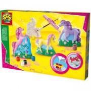 Детски креативен комплект за отливки и оцветяване - Кончета, SES, 080865