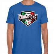 Bellatio Decorations We are the champions Italia / Italie supporter t-shirt blauw voor heren S - Feestshirts