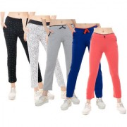 IndiWeaves Women Printed and Solid Cotton Trackpants/Lowers (Pack of 5)