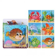 girlove Puzzle for Kids 3-12 Years, 9 Blocks Six Sides Wooden Building Blocks Dimensional Puzzle Toys (Underwater World)
