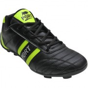 Port Men's Sprnt Black Green Leather Football Sports Shoes