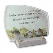 FotoGlas 20x15cm: De herinneringen aan jou — Voorbeeld achtergrond + voorbeeld tekst