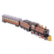 Segolike Brown Wind Up Clockwork Steam Train wi/ 2 Carriages Tin Toy Collectible Gift