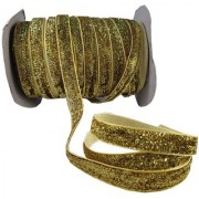De-Ultimate MultiPurpose Golden Glitter Ribbon for Party Decoration Gift Box Wrapping Art and Crafts With 18 Meter Roll