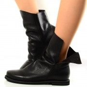 Stivaletti Biker in Pelle Nera ad Apertura Laterale Made in Italy T: 35, 36, 37, 38, 39, 40, 41